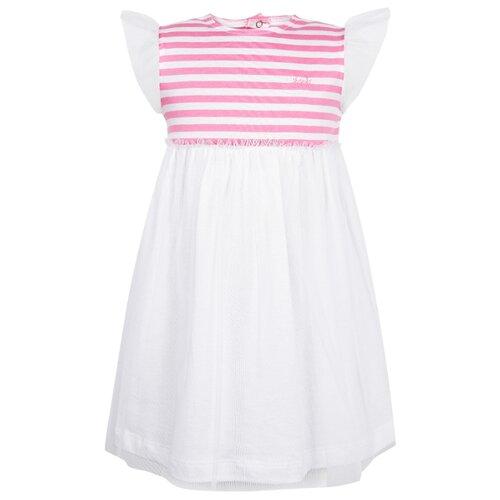 Платье Il Gufo размер 74, белый/розовый/полоска