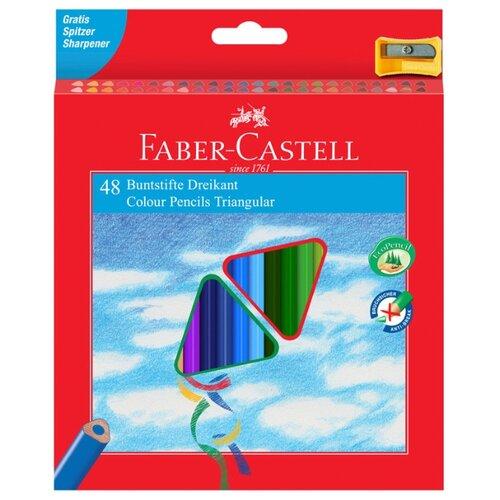 Купить Faber-Castell Карандаши цветные трехгранные c точилкой 48 цветов (120548), Цветные карандаши