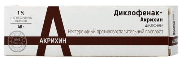 Диклофенак-Акрихин гель 1% туба 40 г