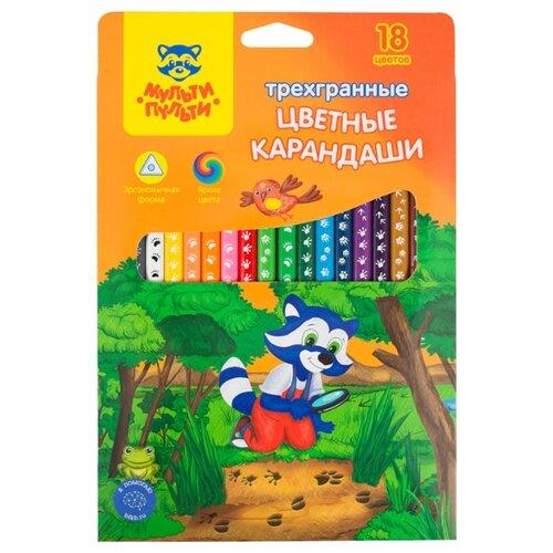 Купить Мульти-Пульти Карандаши цветные Енот-следопыт 18 цветов (CP_20539), Цветные карандаши