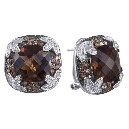 JV Серьги из золота с бриллиантами и топазами C014STC4W-DN-SQ-WG