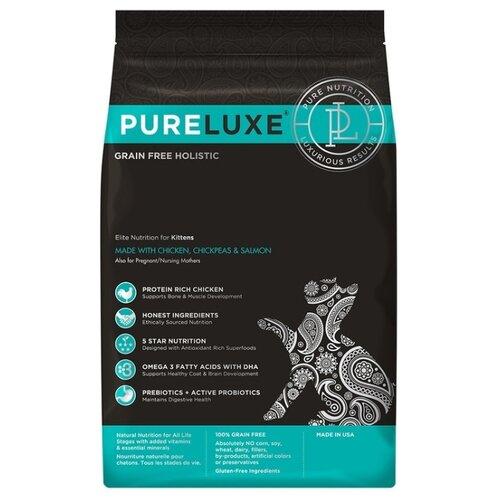 Корм для кошек PureLuxe Elite Nutrition for kitten with chicken, chickpeas & salmon 1.5 кг корм для собак pureluxe 0 4 кг elite nutrition for adult dogs with turkey