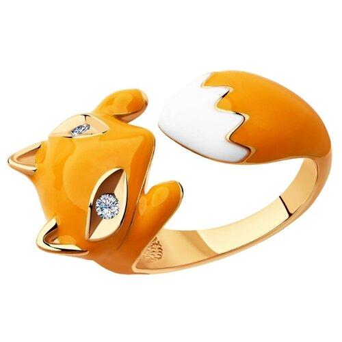 SOKOLOV Позолоченное кольцо в виде лисы 93010511, размер 18