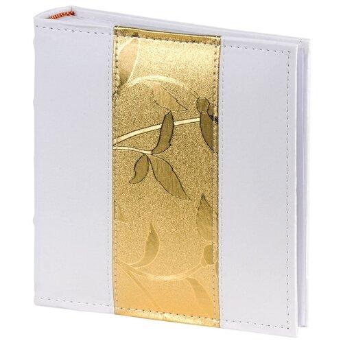 Фотоальбом BRAUBERG обложка под кожу, бокс (391112), 200 фото, для формата 10 х 15, белый/золотой