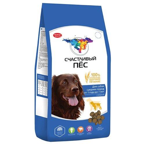 Корм для собак Счастливый пёс (13 кг) Сухой корм для собак средних пород с говядиной