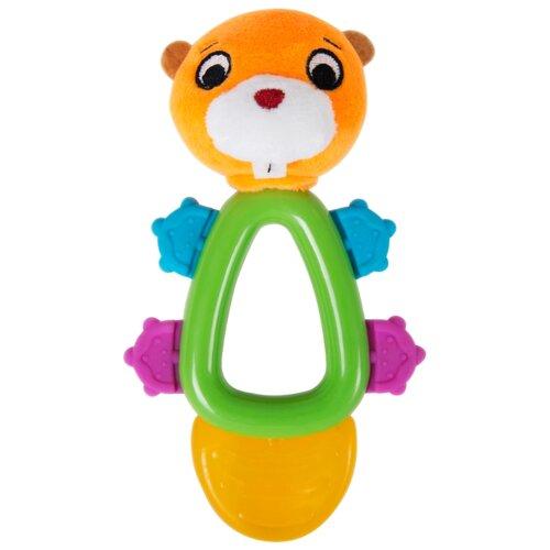Прорезыватель-погремушка Happy Snail Хруми оранжевый/зеленый прорезыватель погремушка happy baby flower twist разноцветный