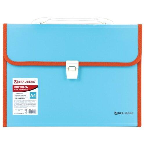Купить BRAUBERG Портфель пластиковый Joy А4, 13 отделений бирюзовый, Файлы и папки
