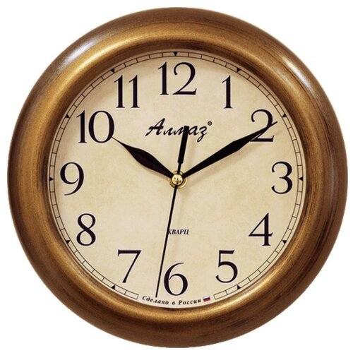 Часы настенные кварцевые Алмаз P27 бронзовый/бежевый