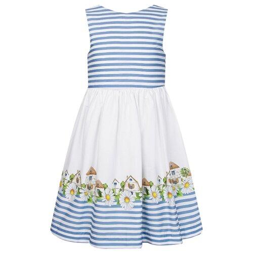 Платье Mayoral размер 92, белый/голубой/полоска