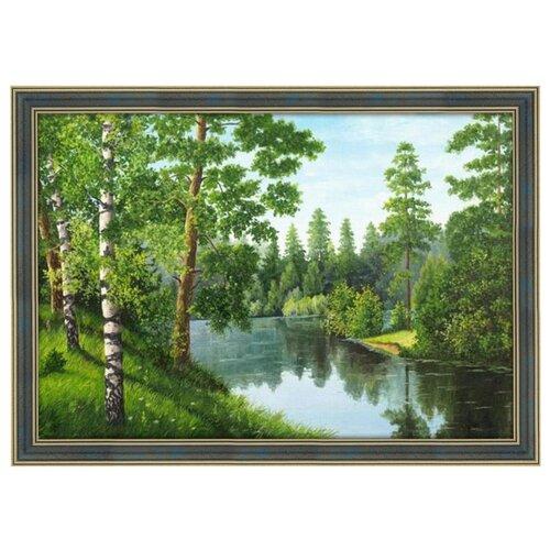 Купить Алмазная живопись Набор алмазной вышивки Река в лесу (АЖ-1243) 56х38 см, Алмазная вышивка