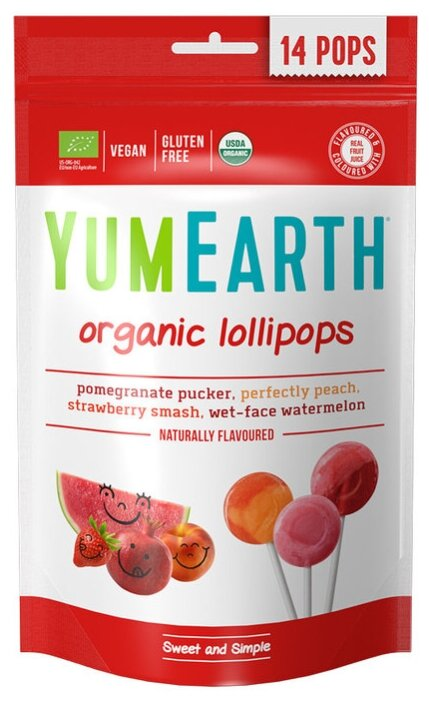 Леденцы на палочке YumEarth Organic Fruit Popps ассорти 85 г