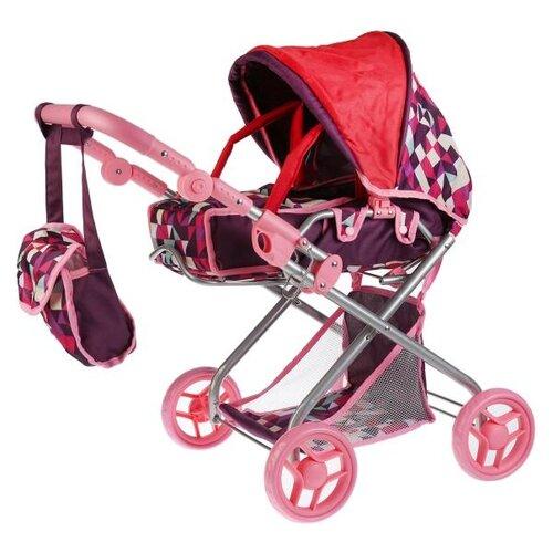 Купить Коляска-люлька Карапуз 63HJ-19 красный/фиолетовый/розовый, Коляски для кукол