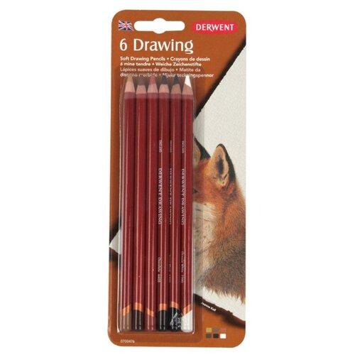 Derwent Цветные карандаши Drawing, 6 цветов (0700476) derwent цветные карандаши drawing 12 цветов 0700671
