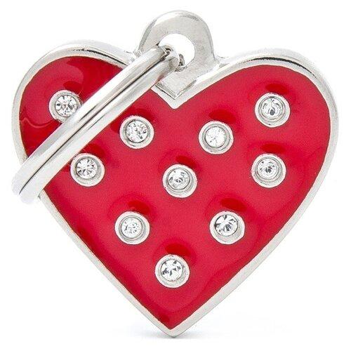Адресник на ошейник My Family Colors Chic Сердце красная