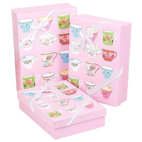 Набор подарочных коробок Yiwu Youda Import and Export Чаепитие, 3 шт. розовый