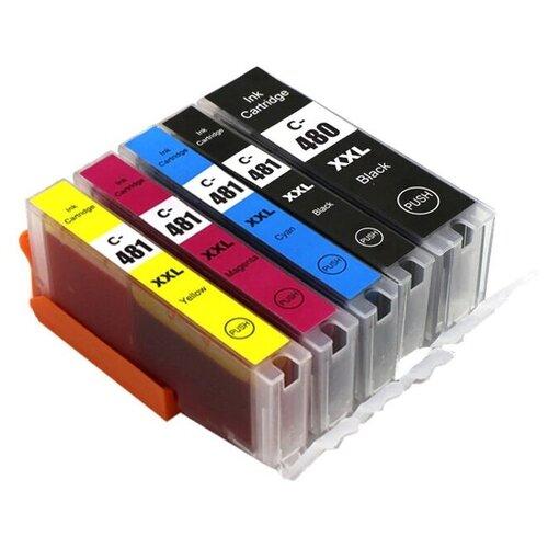 Комплект картриджей PGI-480/CLI-481 XXL повышенной ёмкости из 5 цветов (голубой, пурпурный, желтый, черный, фото черный), для струйного принтера Canon, совместимый