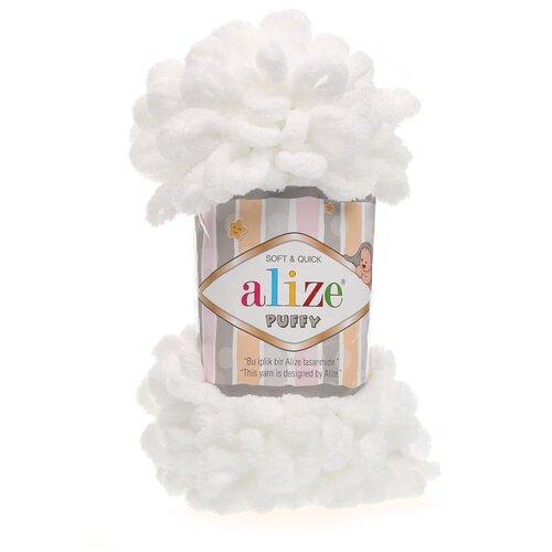 Купить Пряжа для вязания Alize 'Puffy' 100г 9м (100% микрополиэстер) (55 белый), 5 мотков