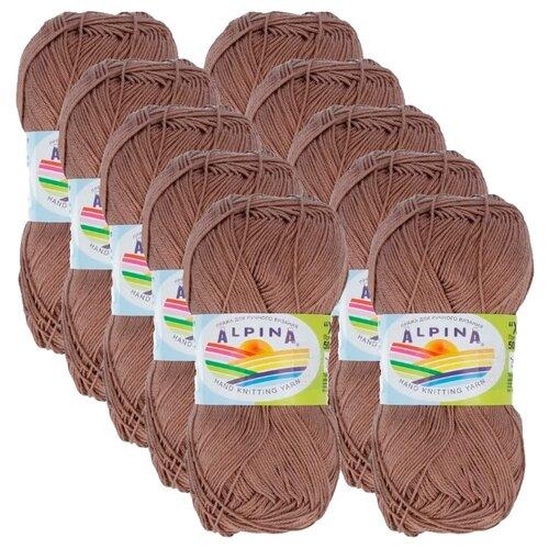 Пряжа Alpina Xenia, 100 % хлопок, 50 г, 240 м, 10 шт., №046 серо-коричневый пряжа alpina katrin 100 % хлопок 50 г 140 м 10 шт 155 желтый синий белый салатовый