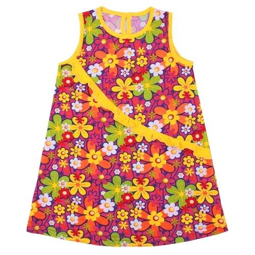 Сарафан Апрель размер 92-50, разные цветы на малине/желтый апрель сарафан апрель для девочки
