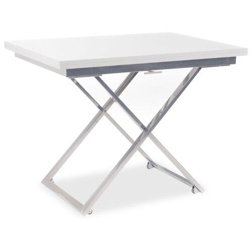 Стол кухонный Levmar Compact GL, раскладной, ДхШ: 70 х 100 см, длина в разложенном виде: 140 см, белый/хром