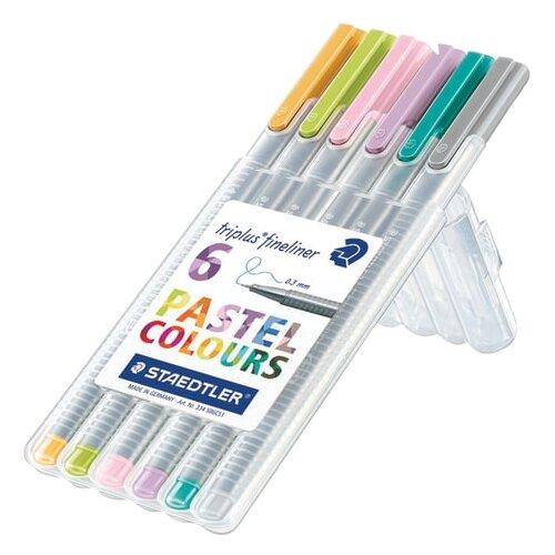 Staedtler набор капиллярных ручек Triplus Fineliner, 6 шт, пастельные цвета (334SB6CS1), разноцветный цвет чернил