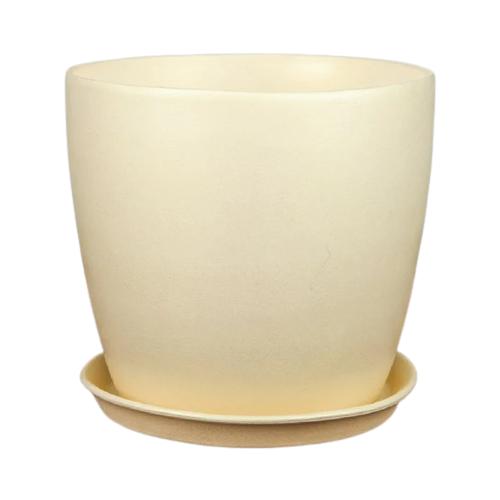 Горшок Керамика ручной работы с поддоном Осень Перламутр 22 х 21 см бежевый по цене 811