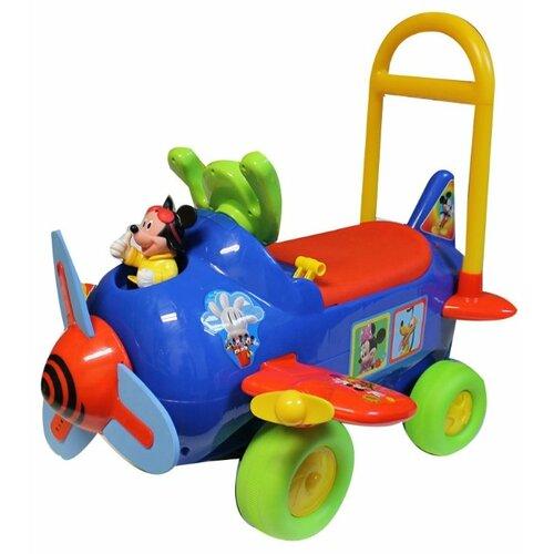 Купить Каталка-толокар Kiddieland Самолет Мики Маус (042614) со звуковыми эффектами синий/зеленый/желтый, Каталки и качалки