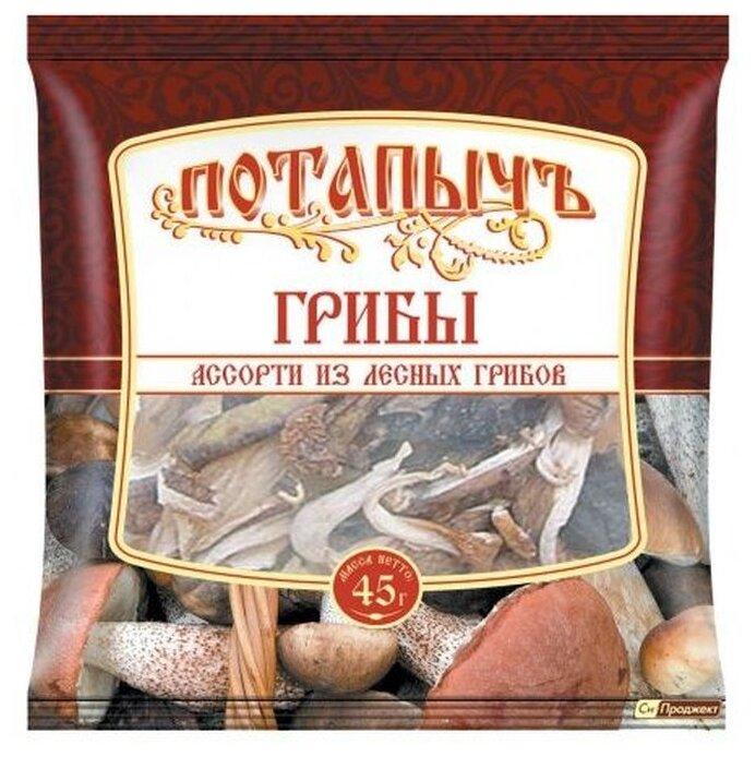 Потапычъ Ассорти из лесных грибов, пакет полиэтиленовый (Россия)