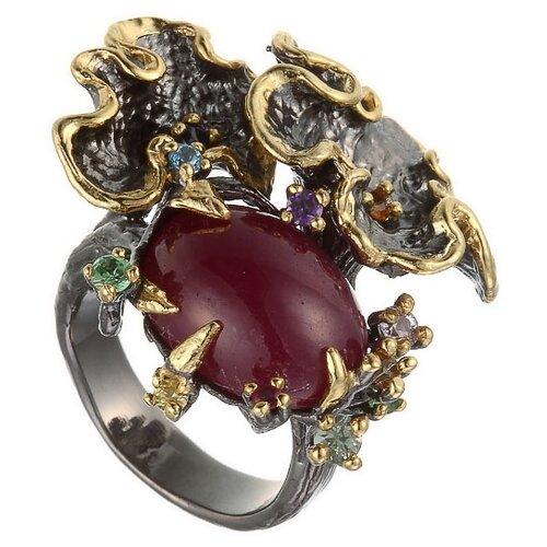 ELEMENT47 Кольцо из серебра 925 пробы с рубином облагороженным, сапфирами и цветными полудрагоценными камнями R260-LGA_KO_RO_SM_MC_BJ, размер 16.75