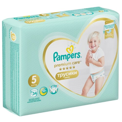 Купить Pampers Premium Care трусики 5 (12-17 кг) 34 шт., Подгузники