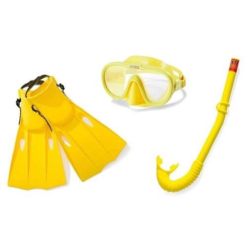 аксессуары для плавания intex плавательный набор маска трубка аква Набор для плавания INTEX (маска, трубка, ласты) от 8 лет, в сетке