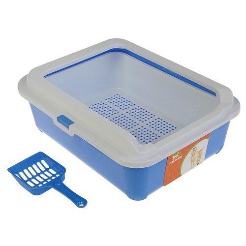 Туалет-лоток для кошек Пижон 3262768/3262769/3262770 43х33х15 см синий