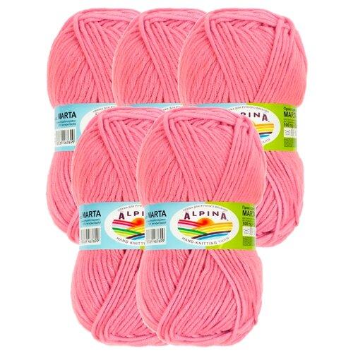 Пряжа Alpina Marta, 100 % акрил, 100 г, 120 м, 5 шт., №019 розовый пряжа alpina vera 45 % хлопок 55 % акрил 100 г 280 м 5 шт 10 св розовый