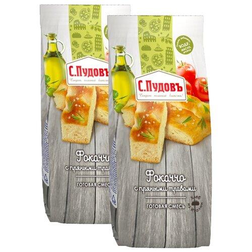 С.Пудовъ Мучная смесь Фокаччо с пряными травами, 2 шт, 0.4 кг пудовъ морковный хлеб с пряными травами 500 г