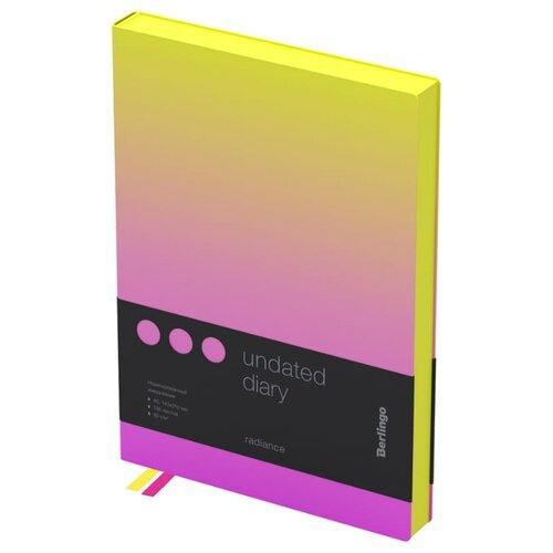 Купить Ежедневник Berlingo Radiance недатированный, искусственная кожа, А5, 136 листов, желтый/розовый, Ежедневники, записные книжки
