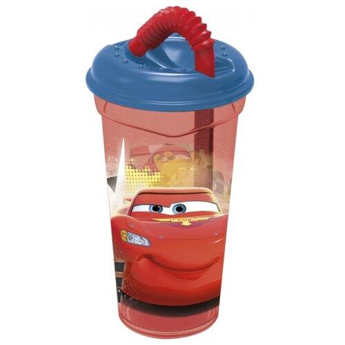 Купить Стакан пластиковый с соломинкой и крышкой Тачки (прозрачный), 400 мл, Stor, Посуда
