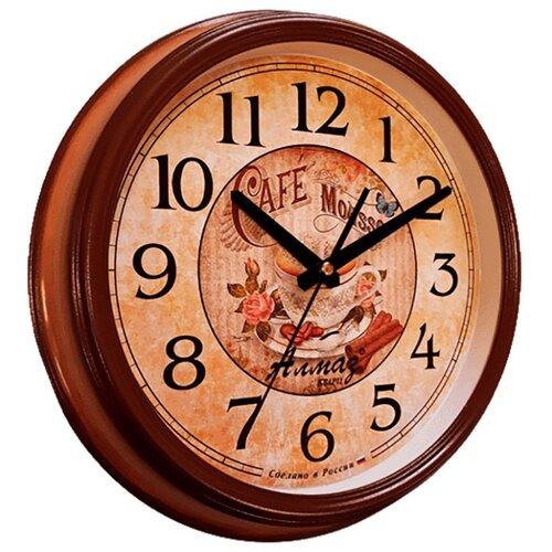 Часы настенные кварцевые Алмаз A67 светло-коричневый/бежевый часы настенные кварцевые алмаз h32 h35 светло бежевый белый