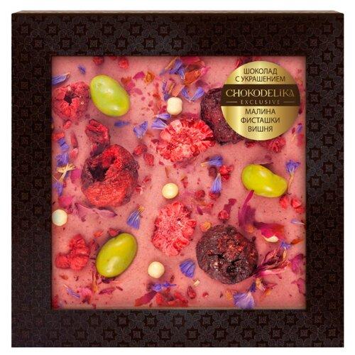 Шоколад Chokodelika белый с малиной, фисташками, вишней, 75 г шоколад chokodelika молочный с кешью 80 г
