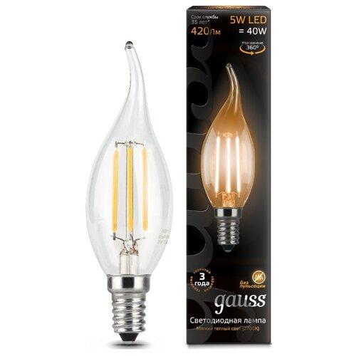 Лампа светодиодная gauss 104801105, E14, CA35, 5Вт лампа светодиодная gauss 104801005 e14 ca35 5вт