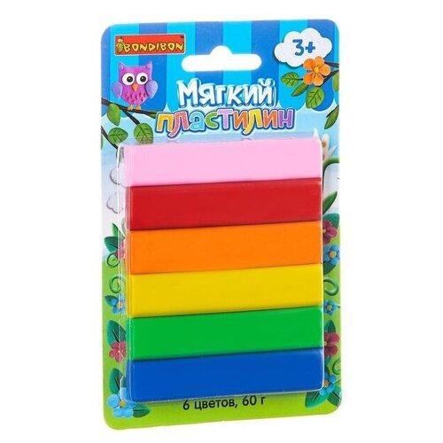 Купить Пластилин BONDIBON 6 цветов 60 грамм (ВВ1799), Пластилин и масса для лепки
