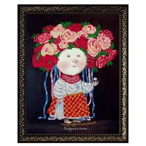 Вышивочка Набор для вышивания чешским бисером на атласе Гапчинская. Девочка в венке 24 х 30 см (ВЛ-050)