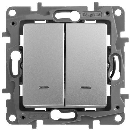 Выключатель 2х1-полюсный Legrand Etika 672404,10А, алюминиевый выключатель 2х1 полюсный legrand valena allure 752905 10а алюминиевый