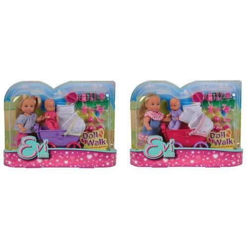 Фото - Набор кукол Simba Еви с малышом на прогулке, 12 см, 5736241 набор кукол simba еви с малышом на прогулке розовая коляска 12 см 5736241 2