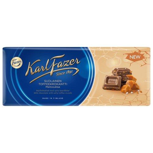 Шоколад Fazer молочный с крошкой из соленой мягкой карамели 30% какао, 200 г