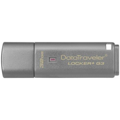 Фото - Флешка Kingston DataTraveler Locker+ G3 32 GB, 1 шт., серый флешка kingston datatraveler locker g3 64 гб серый