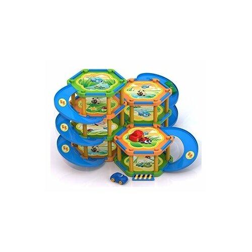 Купить Нордпласт Букашкин Дом (104 детали) оранжевый/синий/зеленый, Детские парковки и гаражи