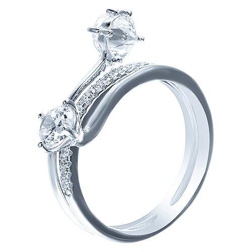 ELEMENT47 Кольцо из серебра 925 пробы с кубическим цирконием SS-B0856R_KO_001_WG, размер 18.25