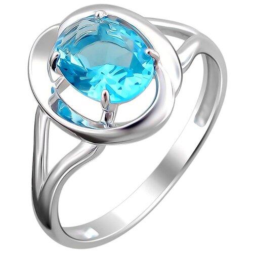 Эстет Кольцо с 1 кристаллом swarovski из серебра Н12К256416, размер 17 ЭСТЕТ