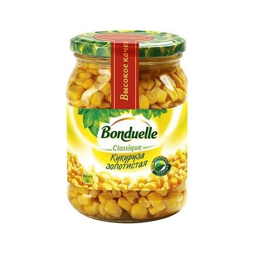 Кукуруза золотистая в зернах Bonduelle стеклянная банка 530 г зеленый горошек bonduelle classique нежный стеклянная банка 530 г