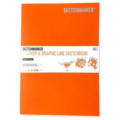 Фото - Скетчбук SketchMarker Marker&Graphic Line 25 х 17.6 см, 180 г/м², 16 л. тыквенный блокнот graphic frankfurt l 256 стр 16 5 х 22 см 120 г м2